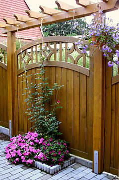 Wattle fence with climbing plant support system