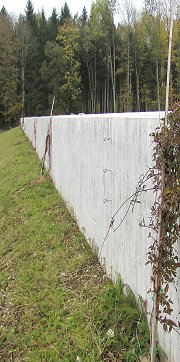 Easy construction on flood protection walls, clematis montana