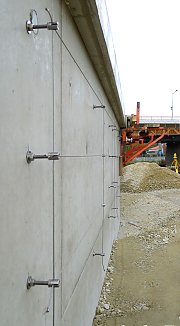 Medium-sized construction with WM 10081 on flood protection wall