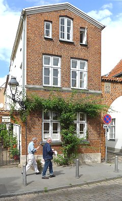 House with facade greening (roses) in Lübeck