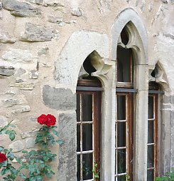 medieval window with rose