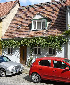 Greening of a house with a grapevine garland in Freyburg / Unstrut, Saxony-Anhalt