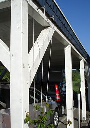 Wire rope trellis on a carport