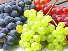 Blue, red and green grapes